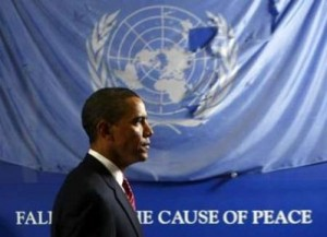 US President Barack Obama passes by a battered United Nations flag that flew over the bombed Canal Hotel in Iraq at the United Nations Headquarters in New York in this September 23, 2009 file photo. (Photo: Reuters)